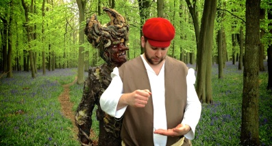 Goblin Devil taunts the Woodcutter